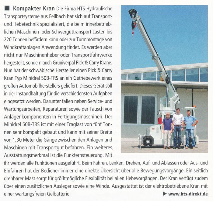DHL Intralogistik 11/2013 - HTS und Gruniverpal - Kompakter Kran
